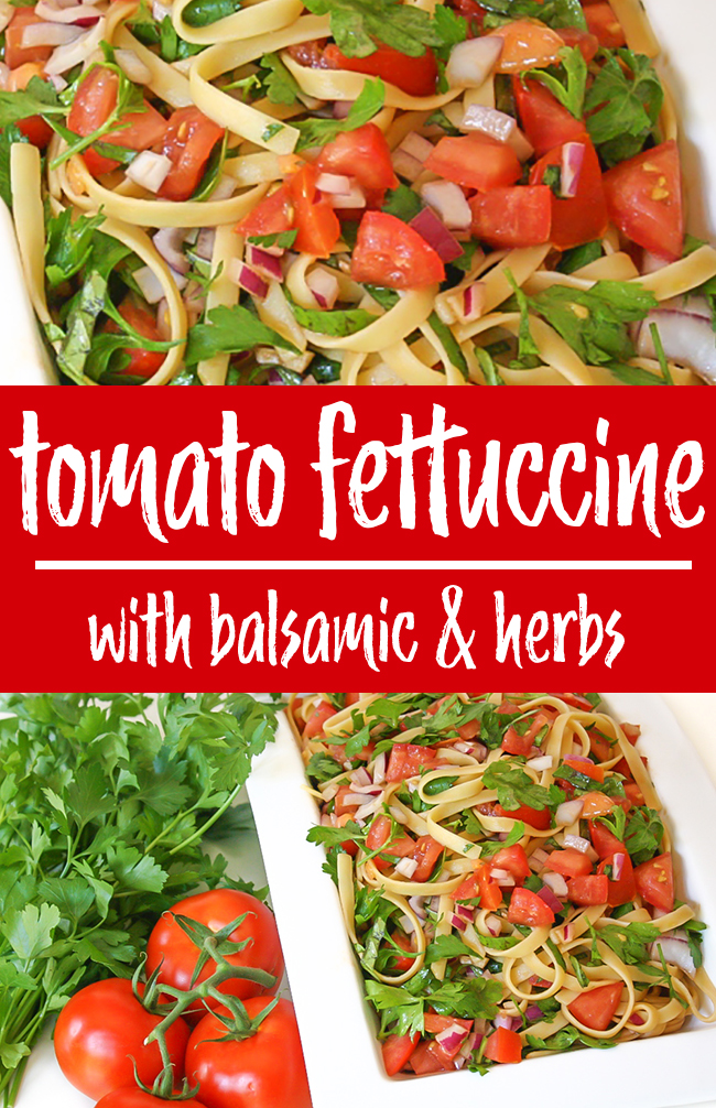 photo collage of fresh tomato fettuccine with balsamic