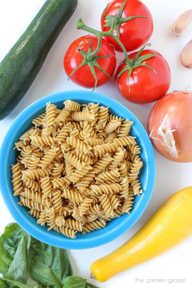 Ingredients for garden vegetable pasta
