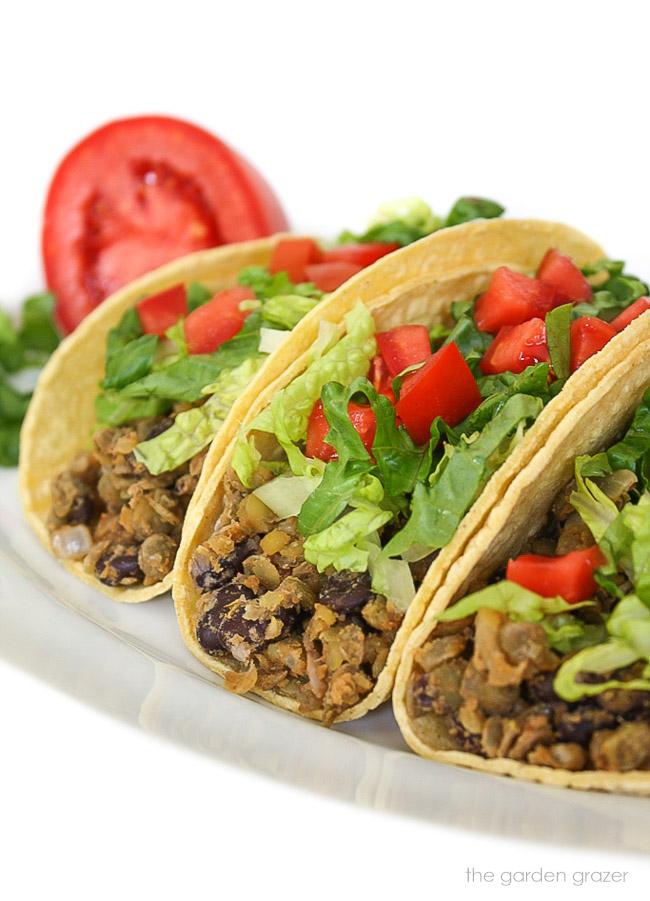 Three black bean lentil tacos