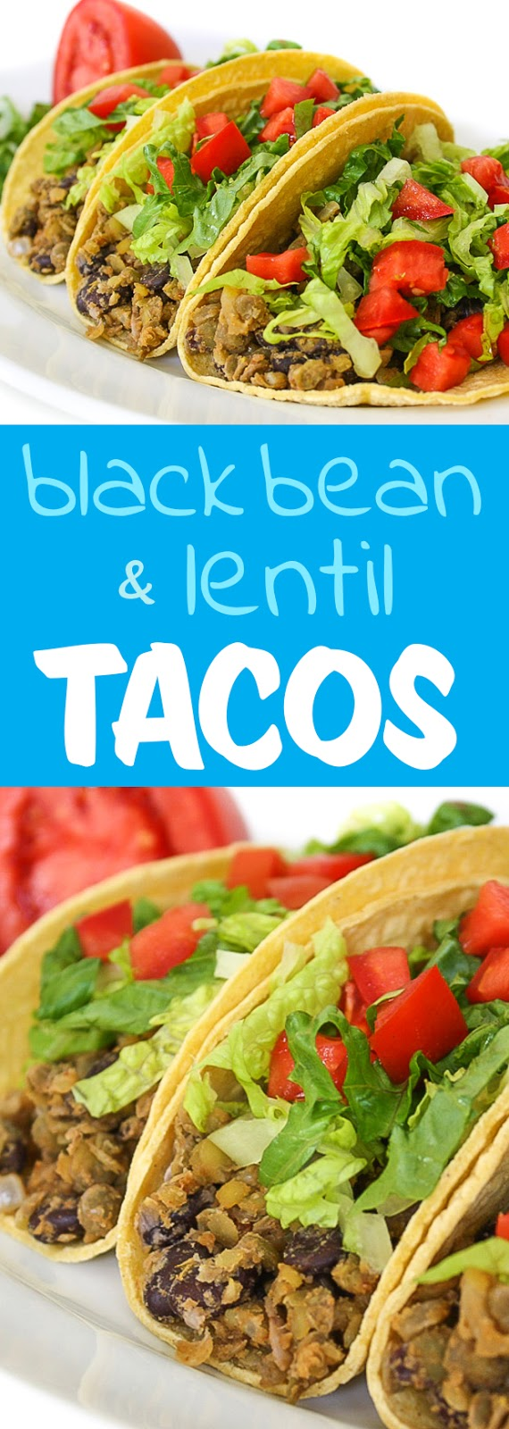 Photo collage of vegan black bean tacos