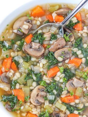 Vegan mushroom barley soup in a bowl
