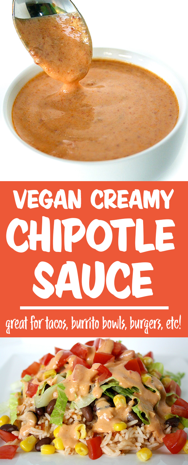 Vegan creamy chipotle sauce photo collage