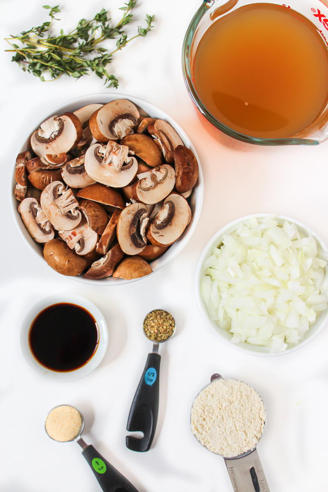 Ingredients on a table for vegan gravy