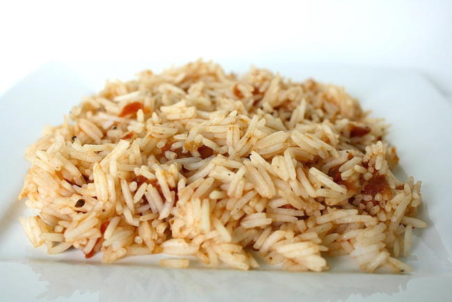 Plate with brown rice and salsa mixed together