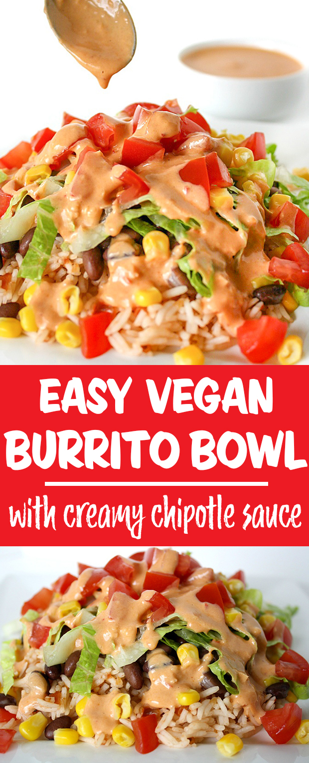 Vegan burrito bowl collage