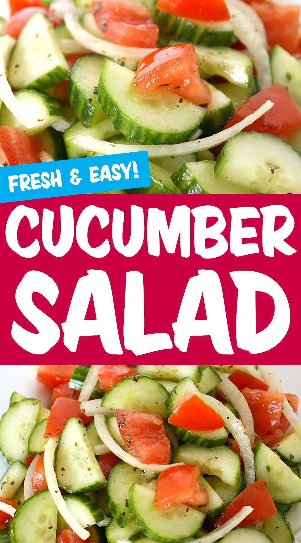 Cucumber salad photo collage