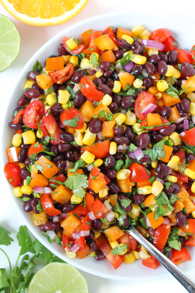 Vegan southwest black bean salad with citrus dressing in a bowl