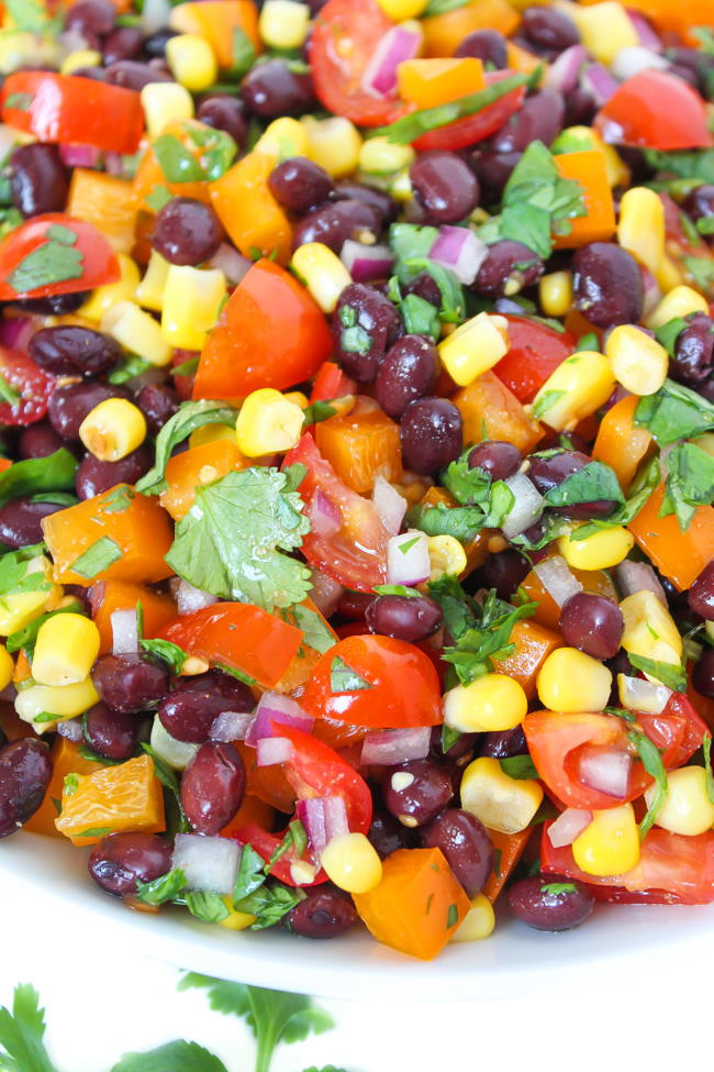 Southwest black bean salad in a bowl with citrus dressing
