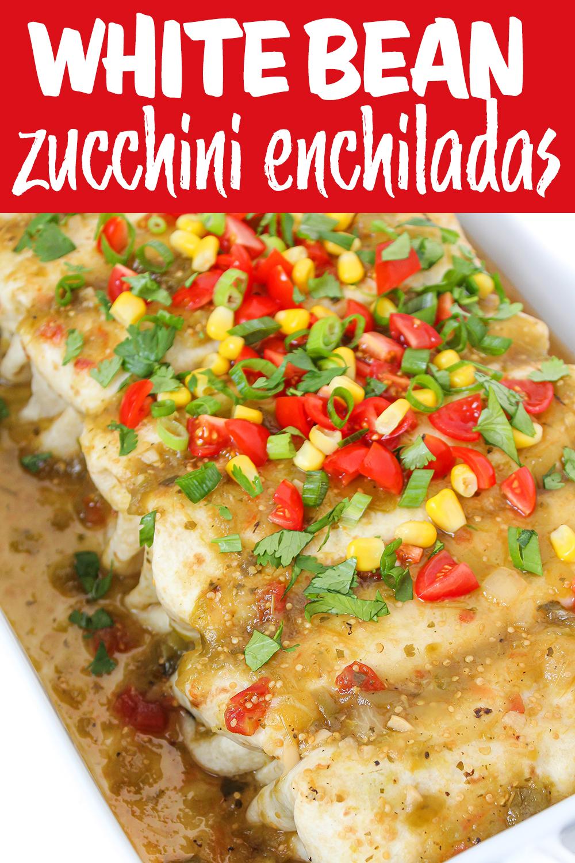 white bean zucchini enchiladas photo collage