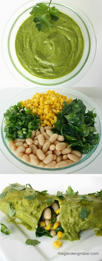 Photo collage of white bean spinach enchiladas