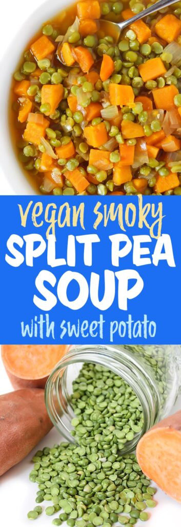 Vegan smoky split pea sweet potato soup photo collage