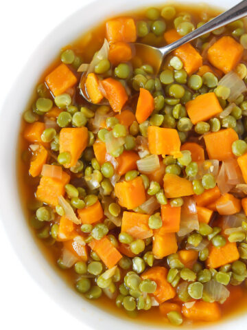 Bowl of split pea soup with sweet potatoes