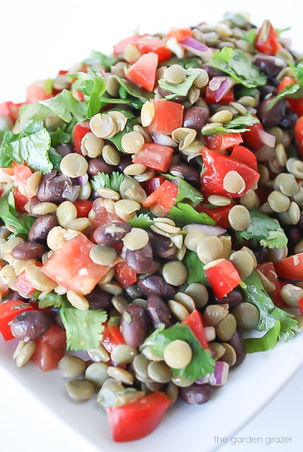 Zoomed in photo of black bean lentil salad with tomato