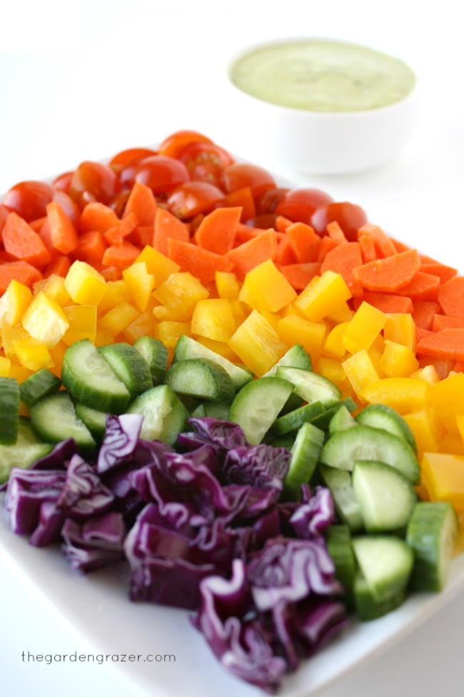 Colorful vegetables on a white plate in the shape of a rainbow