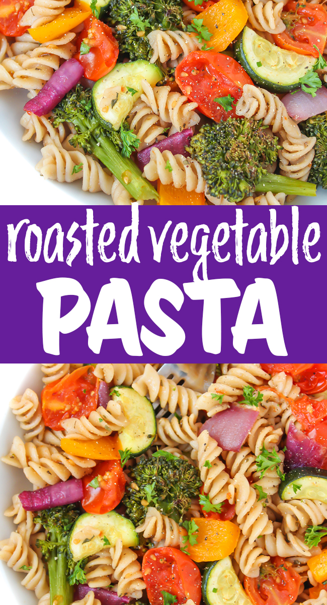 vegan roasted vegetable pasta photo collage