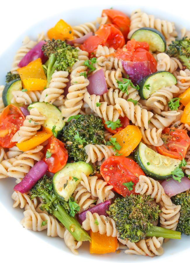 Vegan roasted vegetable pasta with balsamic in a bowl