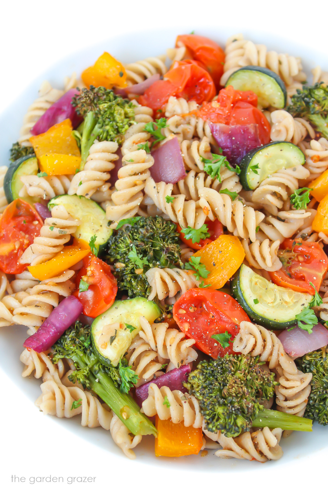 Roasted Vegetable Pasta with balsamic in a bowl