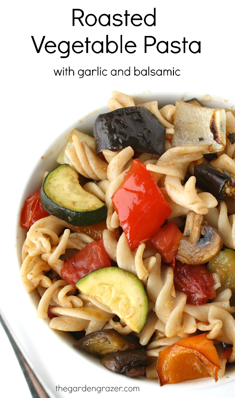 Bowl of vegan roasted vegetable pasta with balsamic