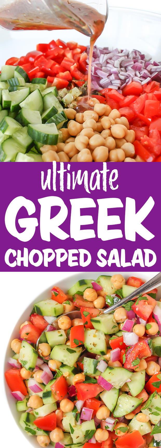 Vegan Greek Chopped Salad photo collage