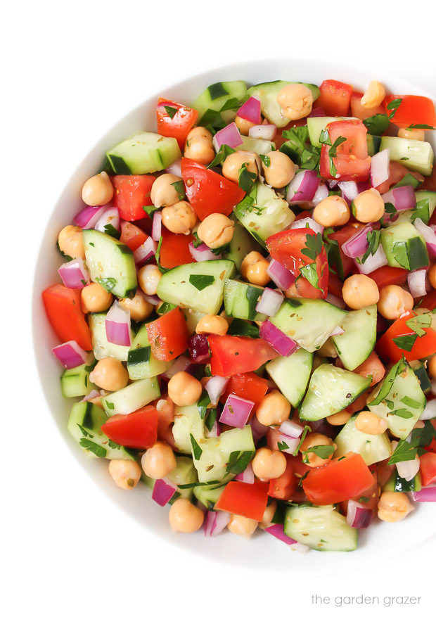 Vegan Greek Salad in a bowl