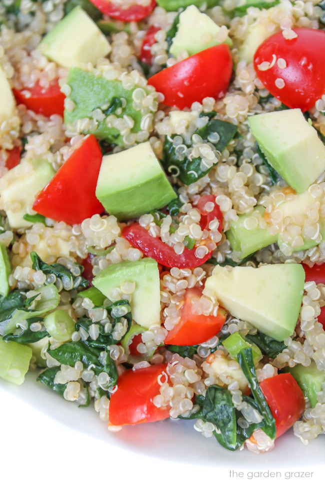 Bowl of vegan quinoa avocado salad with tomato and spinach