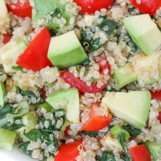 Bowl of vegan quinoa avocado salad with tomato and spinach