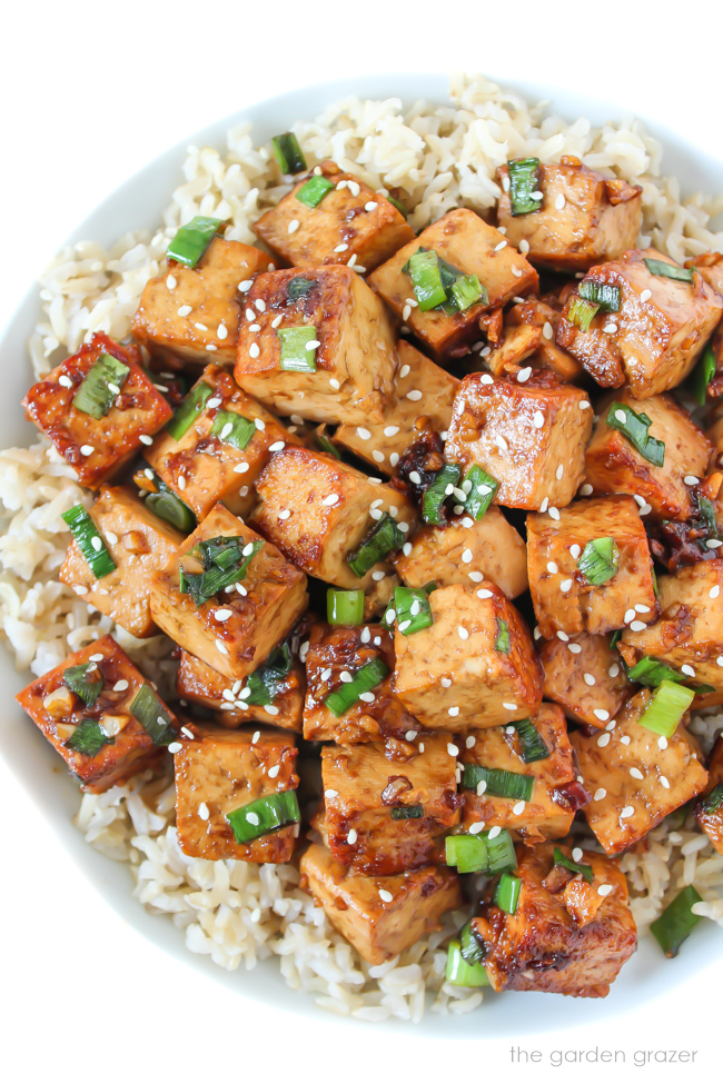 Large bowl of Asian Garlic Tofu cubes with brown rice and green onion