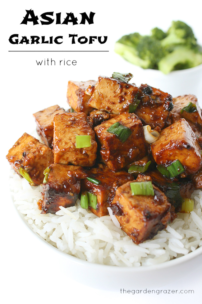 Bowl with cooked tofu, rice and broccoli