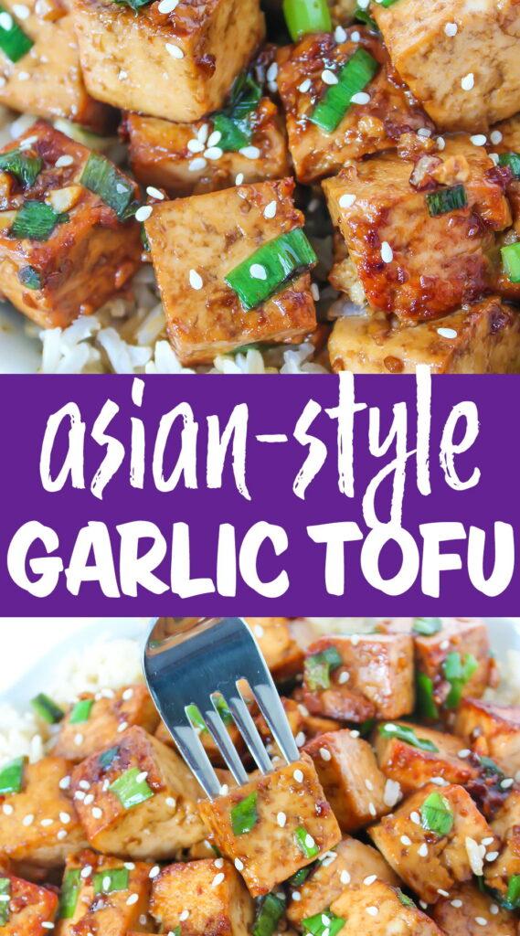 Asian-Style Garlic Tofu photo collage