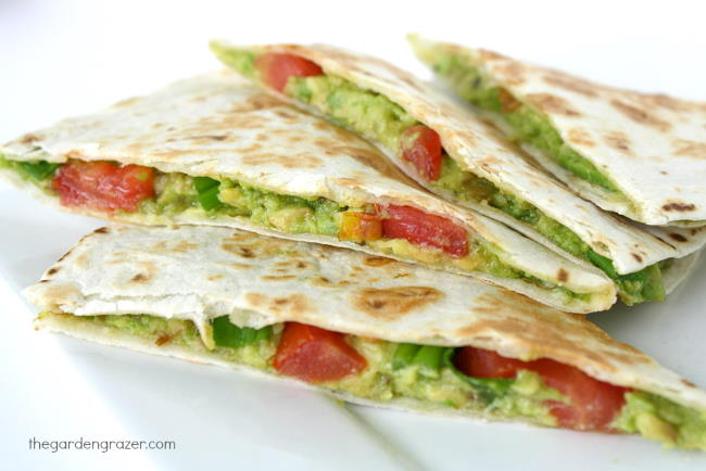 Vegan Avocado Quesadillas with tomato on a plate