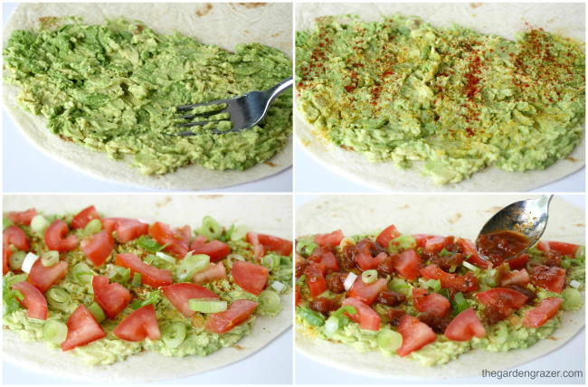 Photo collage with steps of how to make avocado quesadillas