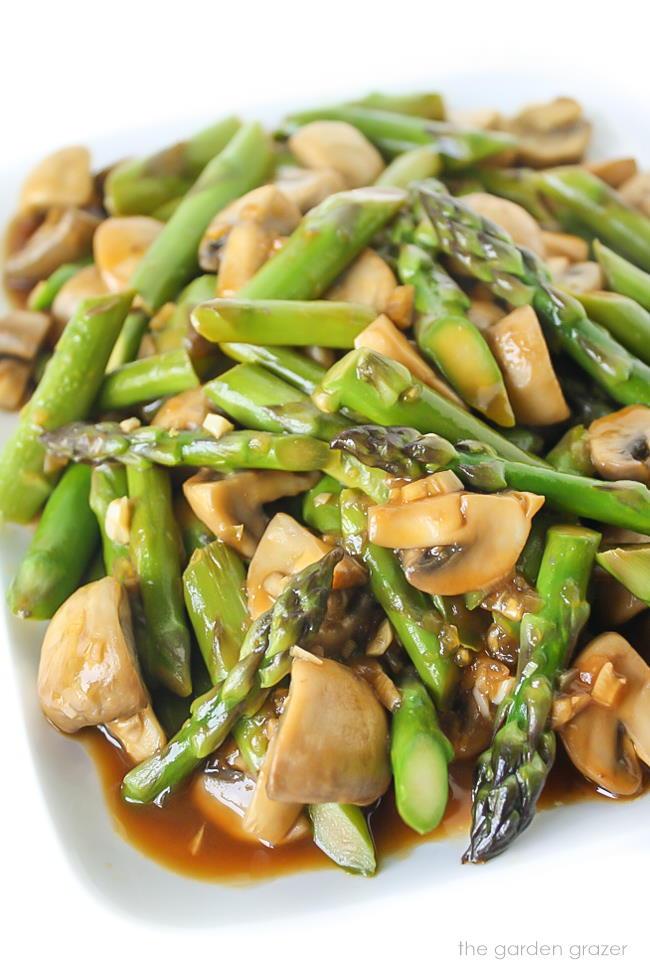 Asparagus mushroom stir fry on a plate
