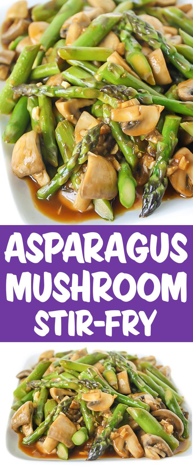 Photo collage of asparagus mushroom stir fry