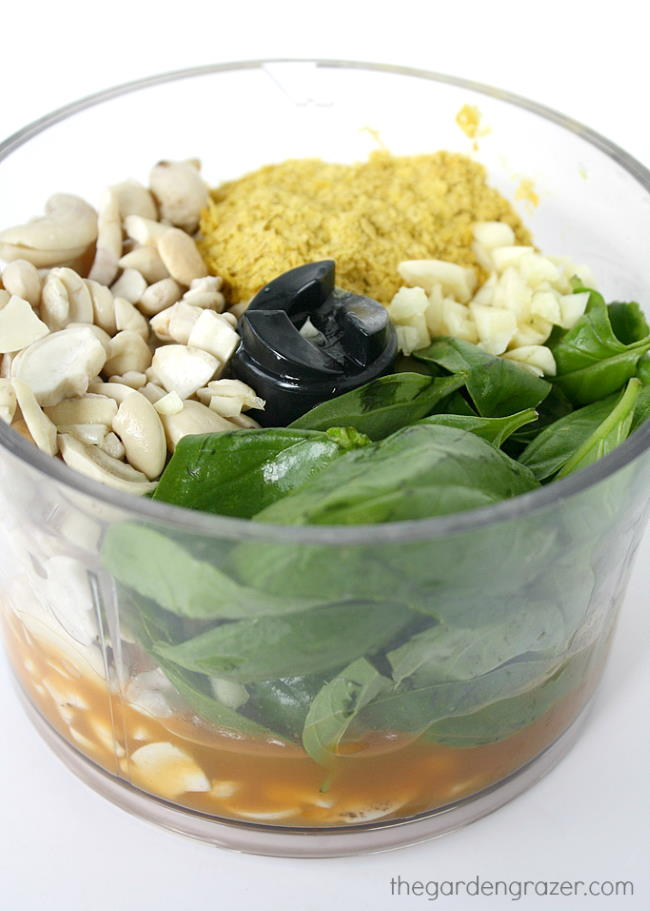 Ingredients in a small food processor for dairy-free cashew basil vegan pesto