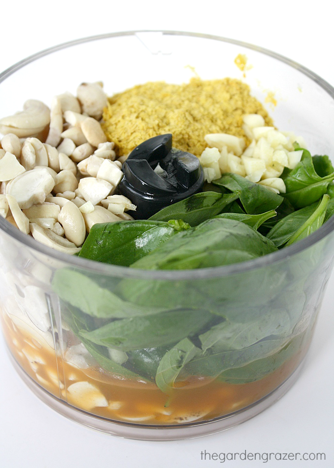 Ingredients in a small food processor for cashew basil vegan pesto