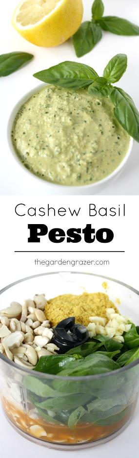 Vegan cashew basil pesto photo collage