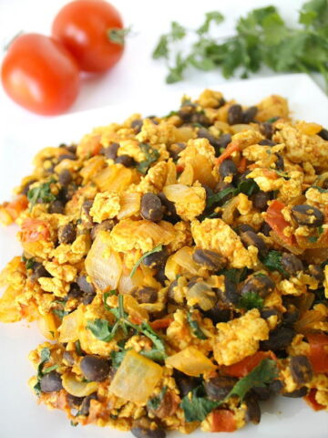 Southwest tofu scramble with black beans on a plate