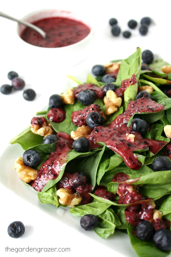 Spinach salad on a plate drizzled with blueberry dressing