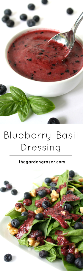Blueberry basil dressing photo collage