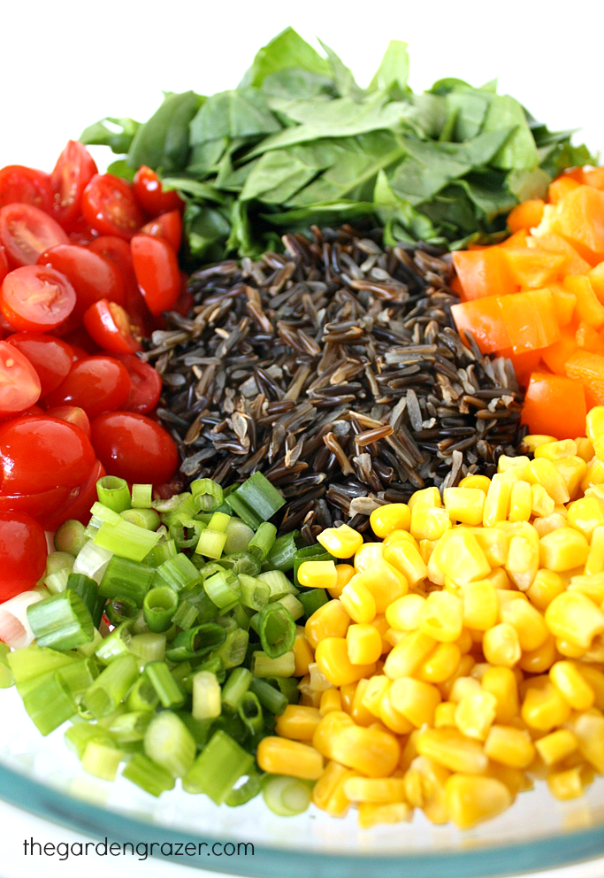 Ingredients in a bowl for vegan wild rice salad