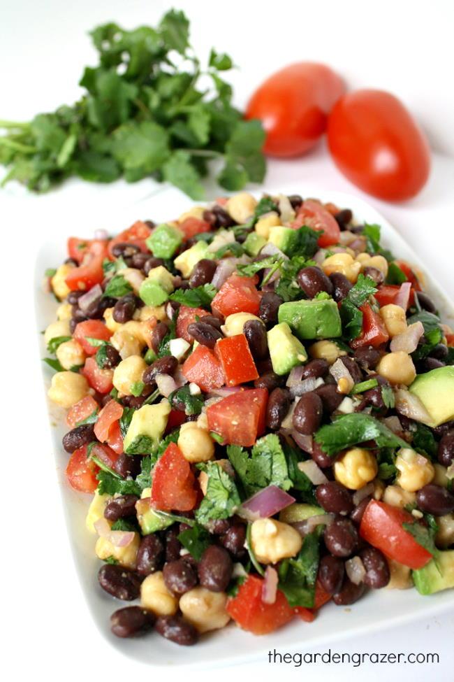 Fiesta bean salad with cilantro and tomato