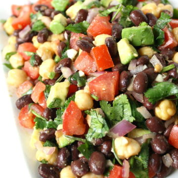 Fiesta Bean Salad with cumin-lime dressing on a plate