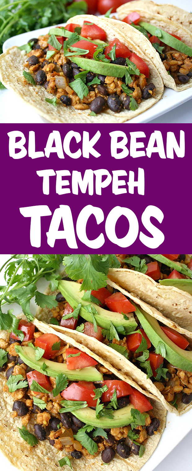 Photo collage of black bean tempeh tacos