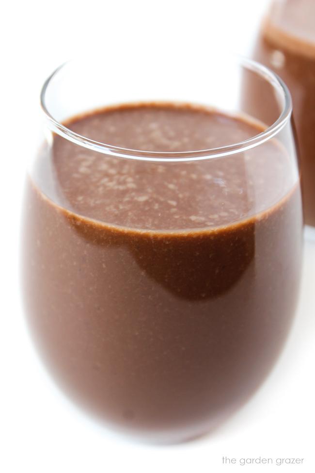 Glass of healthy vegan chocolate milkshake