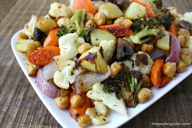 Small plate with roasted vegetables and garbanzo beans