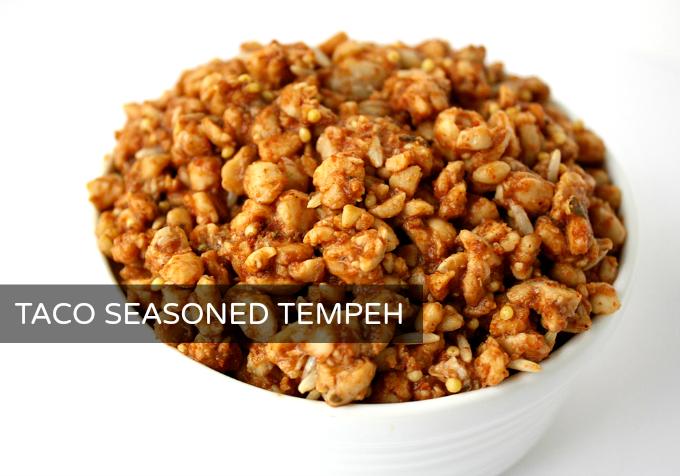 Bowl of taco seasoned tempeh crumbles