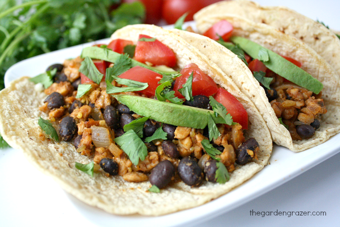 Black bean tacos with tempeh on a plate topped with avocado and tomato