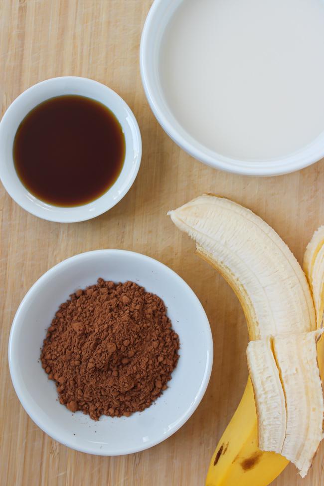 ingredients for vegan chocolate milkshake