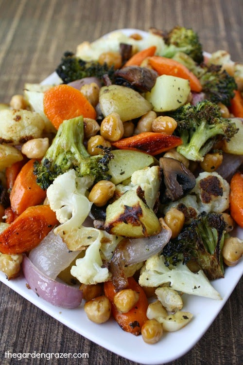 Plate of sheet pan vegetables with chickpeas