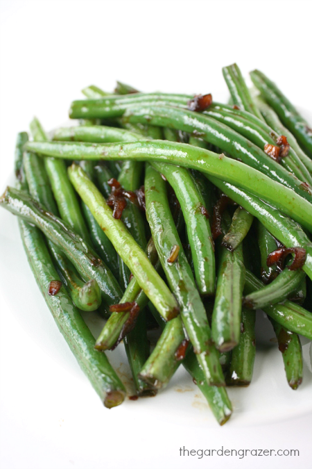 Asian Green Beans on a plate with garlic